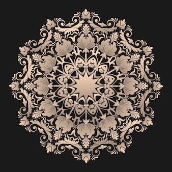 Ornamentale runde spitze mit damast- und arabeskenelementen