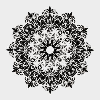 Ornamentale rundspitze mit damast- und arabeskenelementen. mehndi-stil. orient traditionelle ornamente. zentangle-ähnliches rundes farbiges blumenornament.