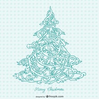 Ornamentalen weihnachtsbaum vektor