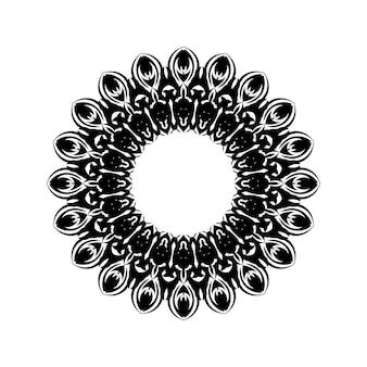 Ornamentales rundes muster des schwarzen umrisses auf weißem hintergrund. design der kartenvorlage. vektor-illustration.