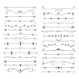 Ornamentteiler. vintage textelement der textzeile, hochzeitsdekorations-trennzeichen. retro gezeichnetes buch zierteiler set