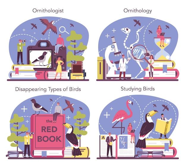 Ornithologe konzept set illustration