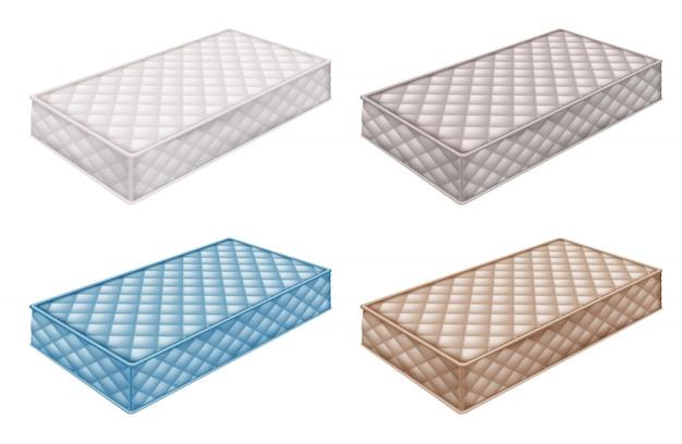 Orthopädische matratze sammlung in verschiedenen farben.