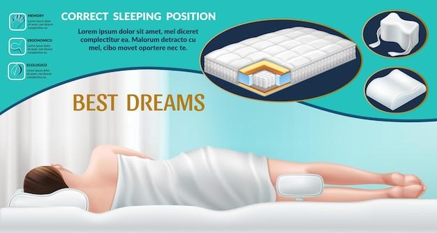 Orthopädische matratze und kissen richtige position für guten schlaf