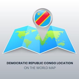 Ortsikone der demokratischen republik kongo auf der weltkarte, round pin ikone der demokratischen republik kongo