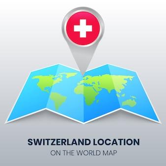 Ortsikone der schweiz auf der weltkarte, round pin ikone der schweiz