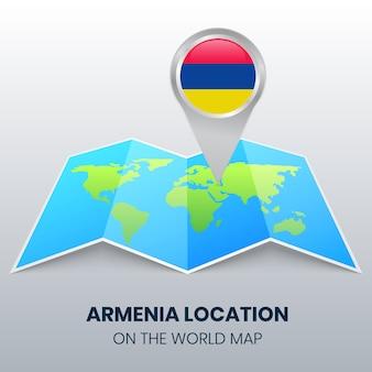 Ortsikone von armenien auf der weltkarte, round pin ikone von armenien
