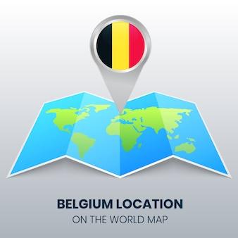 Ortsikone von belgien auf der weltkarte, round pin ikone von belgien