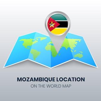 Ortsikone von mosambik auf der weltkarte rundes stiftikone von mosambik