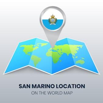 Ortsikone von san marino auf der weltkarte, runde pin-ikone von san marino