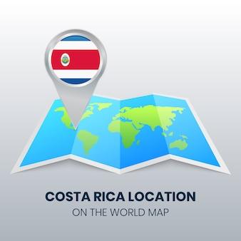 Ortssymbol von costa rica auf der weltkarte