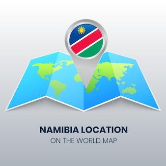 Ortssymbol von namibia auf der weltkarte, rundes stecknadelsymbol von namibia