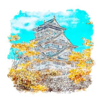 Osaka castle japan aquarell skizze hand gezeichnete illustration