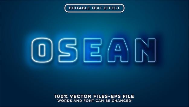 Oseanischer text. bearbeitbare texteffekt-premium-vektoren