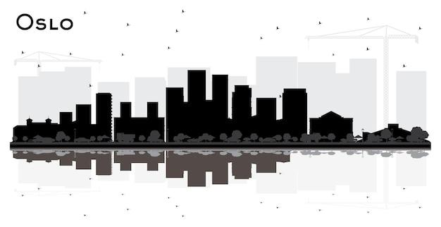 Oslo norwegen city skyline silhouette mit schwarzen gebäuden und reflexionen, isoliert auf weiss. illustration