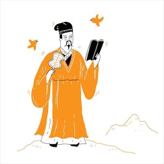 Ostasiatischer philosoph, denker, vorstellungskraft, vektorillustrationshand gezeichnet