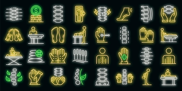 Osteopathie-symbole gesetzt. umrisse von osteopathie-vektorsymbolen neonfarbe auf schwarz