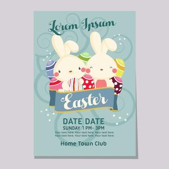 Osterausstellungswochen-plakatschablone mit kaninchen