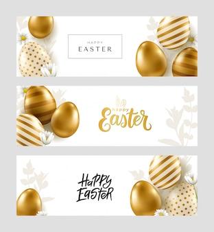Osterbanner. realistische goldene eier auf weißem hintergrund. frohe ostern kalligraphie.