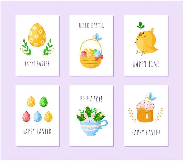 Ostereier, cartoon-huhn, süßer kuchen, süßes kaninchen in der teetasse, korb mit ostereiern - karten