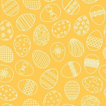 Ostereier handgezeichnete dünne linie vektor nahtlose muster