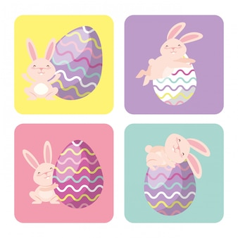 Ostereier und kaninchenrahmen