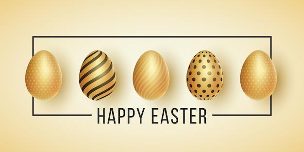 Osteretikett. goldene eier mit einem muster auf einem hellen hintergrund. schwarzer rahmen mit text.