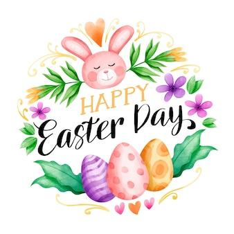 Osterferien aquarell und bunte eier