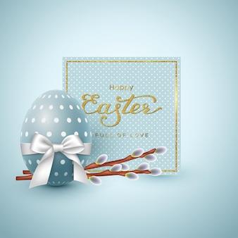 Osterferiengrußkarte. glitzer-schriftzug, realistisches ei mit weißer schleife und weidenzweigen.