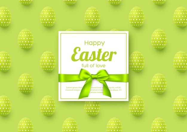 Osterferiengrußkarte mit realistischen eiern.