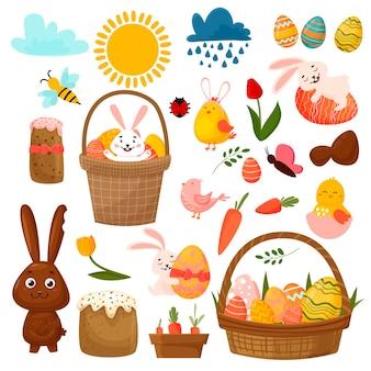 Osterfrühlingsset mit niedlichen eiern, vögeln, pflanzen, hasen. osterkuchen und schmetterlinge. hand gezeichnete karikatur.