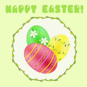 Ostergruß mit grün; rot; gelb gestrichene eier