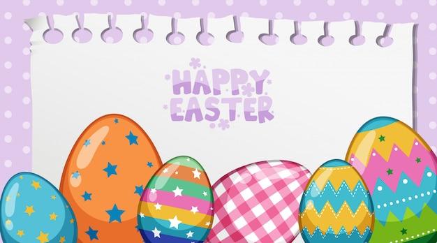 Ostergrußkarte mit gemalten eiern auf tupfen