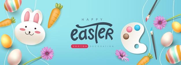 Ostergrußkartenhintergrund mit niedlichem kaninchen und farbigen ostereiern.