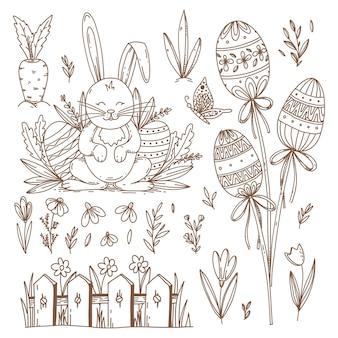 Osterhand gezeichnete symbole und objekte