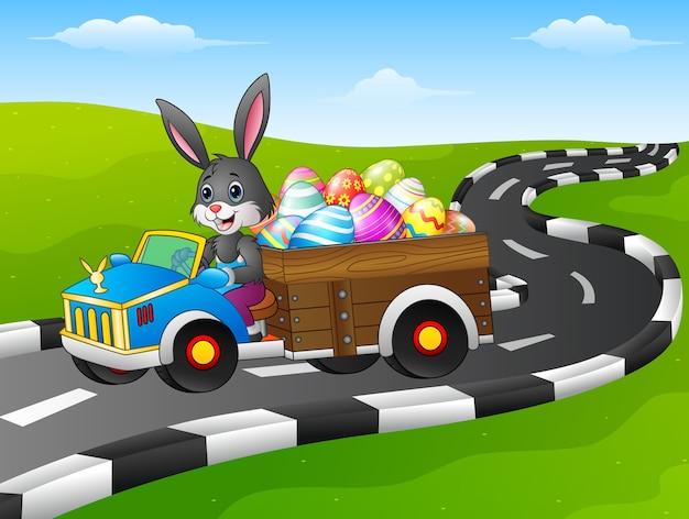 Osterhase mit küken, die ein auto fahren, trägt ostereier | Premium-Vektor
