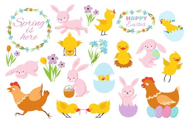 Osterhase, küken und frühlingsblumen. lustige kaninchen, babyhühner und eier. cartoon ostern frühlingsset