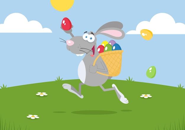 Osterhasen-karikaturfigur, die mit einem korb und einem ei läuft