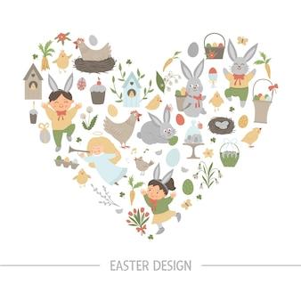 Osterherzenformrahmen mit hase, eiern und glücklichen kindern lokalisiert auf weißem hintergrund. christliches feiertags-themenorientiertes banner oder einladung. nette lustige frühlingskartenschablone.