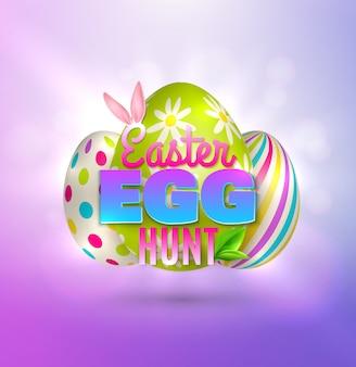 Osterhintergrund mit bunten bildern von östlichen eiern mit bearbeitbarem verziertem text und abstrakter hintergrundglühillustration