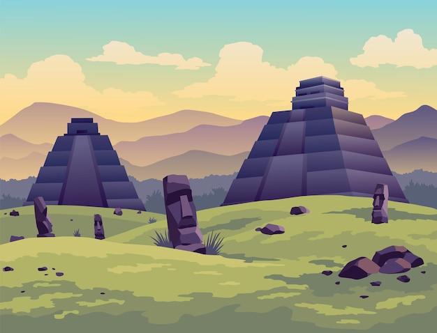 Osterinsel. reisende an alten maya-pyramiden oder moai-statuen. berühmtes banner für den standort der reiselandschaft. tourismus und urlaub tropischer hintergrund.