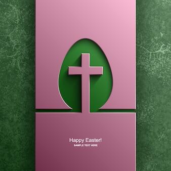 Osterkarte in der form eines eies mit dem bild eines christlichen kreuzes, osterhintergrund