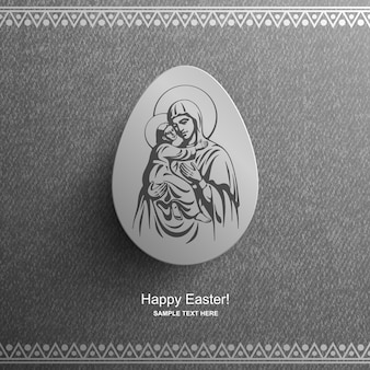 Osterkarte mit einem bild der seligen jungfrau maria und des jesuskindes, osterhintergrund,