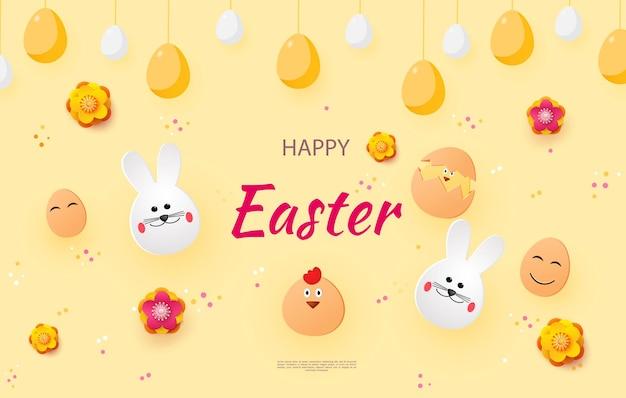 Osterkarte mit kaninchen und hühnern
