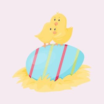 Osterkarte mit kükenpaar auf einem farbigen ei