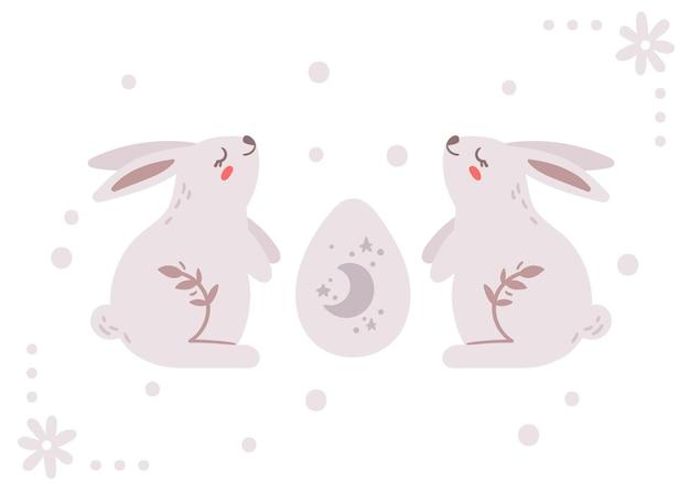 Osterkindergartenkarte mit niedlichem kaninchen oder banny und osterei
