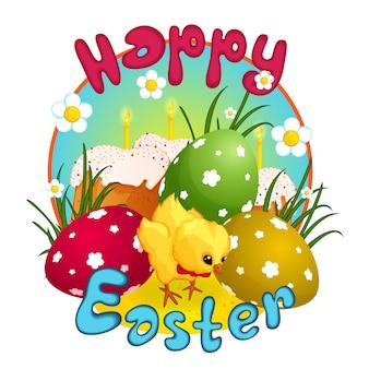 Osterkuchen und bemalte eier.