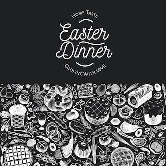 Ostern abendessen banner vorlage