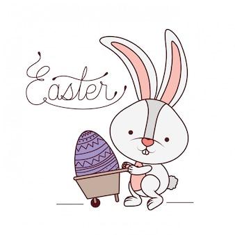 Ostern-aufkleber mit häschen lokalisierter ikone
