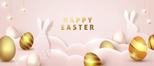 Ostern banner vorlage mit luxus goldenen eiern.